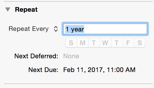 OmniFocus: Repeat Annually