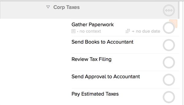 OmniFocus: Tax Steps